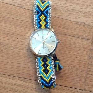 Charming Charlie gold face watch with braided band